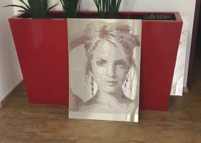 Fotoblech Frauengesicht-Pflanzkübel