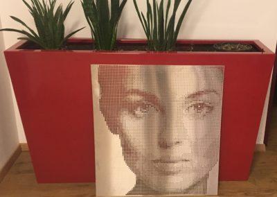 Fotoblech Gesicht Frau-Pflanzkübel